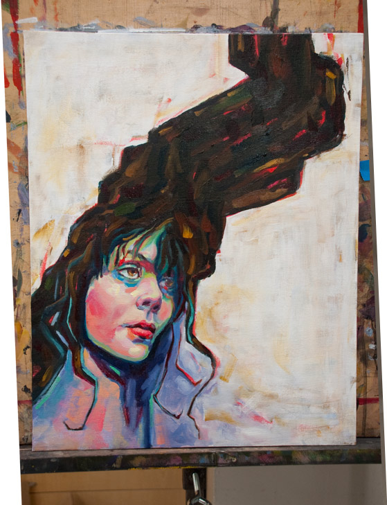 bat for lashes oil painting illustration portrait impasto